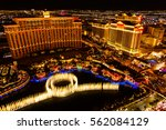 Stock photo fountains and hotels on las vegas strip at night 562084129