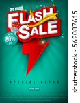 flash sale bright banner or... | Shutterstock .eps vector #562087615