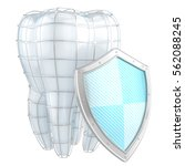 tooth and shield. 3d... | Shutterstock . vector #562088245