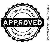 grunge black approve round... | Shutterstock .eps vector #562088329