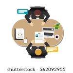 employer interviewing a job... | Shutterstock .eps vector #562092955