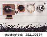 top view of vintage coffee... | Shutterstock . vector #562100839
