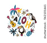 toucans and ornamental phrase   ... | Shutterstock .eps vector #562101661