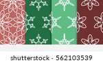 set of modern floral seamless... | Shutterstock .eps vector #562103539