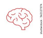 Stock vector  brain icon flat 562127374