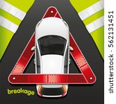 the car in a breakdown triangle ... | Shutterstock . vector #562131451