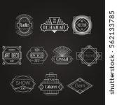 dark art deco vector badges... | Shutterstock .eps vector #562133785
