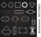dark art deco vector frames set | Shutterstock .eps vector #562133821