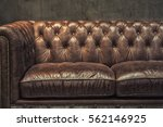 vintage brown leather sofa with ...