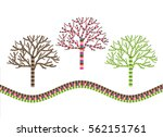 abstract patterned trees on a... | Shutterstock .eps vector #562151761