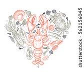 seafood heart. vector... | Shutterstock .eps vector #562156045