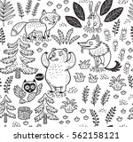 hand drawn seamless pattern... | Shutterstock .eps vector #562158121