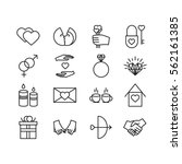 vector valentine line icons set....