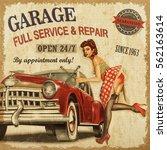 vintage garage retro poster | Shutterstock . vector #562163614