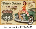 filling station retro banner | Shutterstock . vector #562163659