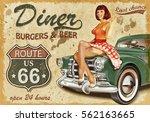diner  route 66 vintage poster | Shutterstock . vector #562163665