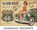 vintage garage retro poster | Shutterstock . vector #562163671