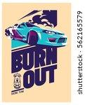 burnout car  japanese drift... | Shutterstock .eps vector #562165579