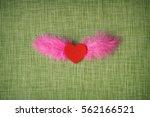 felt heart and dyed bird... | Shutterstock . vector #562166521