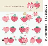 9 cute sweet heart vector set ... | Shutterstock .eps vector #562168321