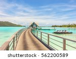 beautiful view of pier at blue...   Shutterstock . vector #562200589