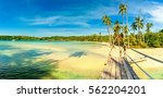 wooden bridge to the tropical... | Shutterstock . vector #562204201