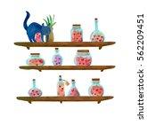 black cat on the shelves full... | Shutterstock .eps vector #562209451