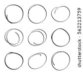 set hand drawn ovals  felt tip... | Shutterstock .eps vector #562213759
