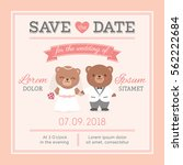 cute bear couple illustration... | Shutterstock .eps vector #562222684