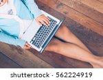 beautiful girl used laptop... | Shutterstock . vector #562224919