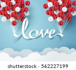paper art of love calligraphy... | Shutterstock .eps vector #562227199