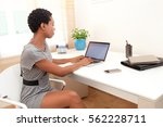 side portrait of professional... | Shutterstock . vector #562228711