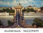 Small photo of BUDAPEST, HUNGARY-JUL 14, 2014:The Szechenyi Chain Bridge and the Basilica and - Budapest Hunga