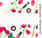 flat lay  top view. feminine... | Shutterstock . vector #562236445