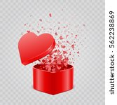 gift box and hearts confetti... | Shutterstock .eps vector #562238869