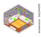 vector living room isometric... | Shutterstock .eps vector #562244395