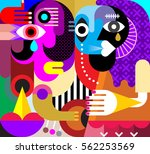 abstract portrait of two crying ... | Shutterstock . vector #562253569