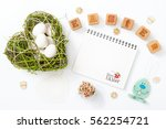 easter composition with wooden... | Shutterstock . vector #562254721