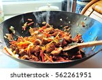 Fried Vegetables With Meat In ...