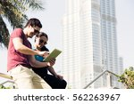 tourists to dubai sending an... | Shutterstock . vector #562263967