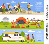 set of three camping and hiking ... | Shutterstock .eps vector #562270219