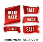 set of five red  realistic ... | Shutterstock . vector #562272949