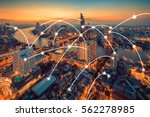 bangkok cityscape with network... | Shutterstock . vector #562278985