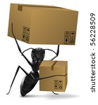 ant carrying two cardboard boxes order delivery sending by post or moving into new home concept - stock photo