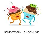 cartoon muffins forever friends.... | Shutterstock .eps vector #562288735