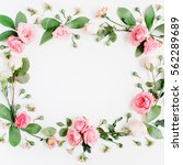 round frame made of pink and...   Shutterstock . vector #562289689