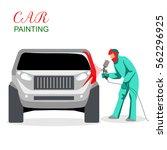 car painting. a man spray...   Shutterstock .eps vector #562296925