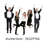 happy business people jumping   ... | Shutterstock . vector #56229766