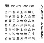 56 my city icon set | Shutterstock .eps vector #562305769