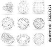 set of wireframe polygonal... | Shutterstock .eps vector #562315621